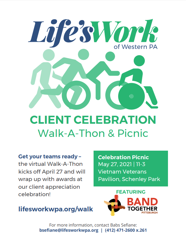 Life's Work Walk A Thon flyer